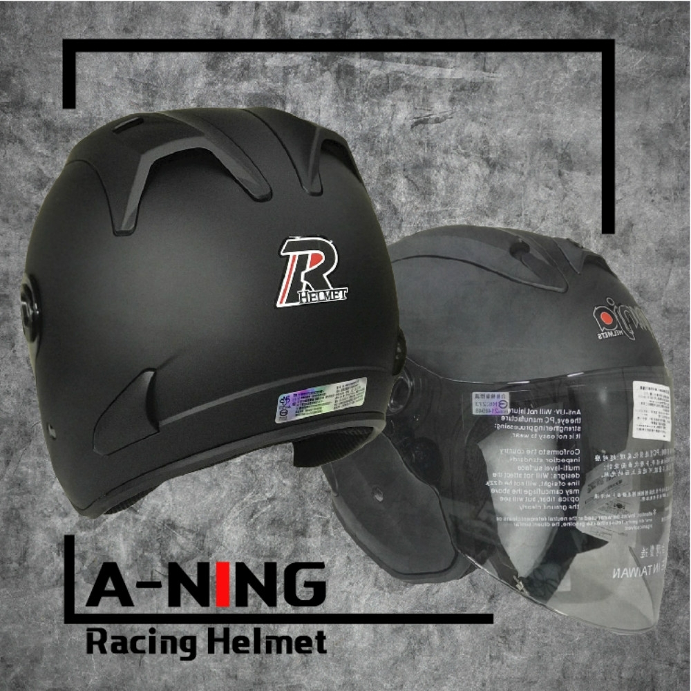 A-NING 時尚R帽 類經典Arai安全帽 雙導流 貓耳 外銷日本式樣款 機車 K1 (平黑)