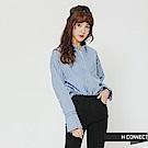 H:CONNECT 韓國品牌 女裝-細節設計半開襟襯衫-淺藍
