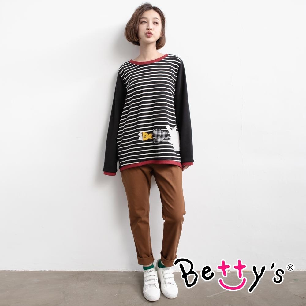 betty's貝蒂思 羅紋褲頭綁帶長褲(咖啡色)