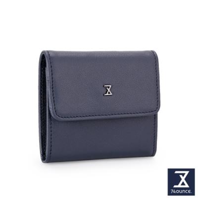 74盎司 Plain真皮壓釦雙層零錢包[N-600-PI-M]藍