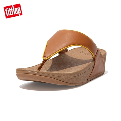 【FitFlop】LULU POP BINDING TOE-POST SANDALS 全皮革經典夾腳涼鞋-女(淺褐色)