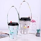 JOYNA環保手提杯套 防水布料飲料杯套吸管收納-5入