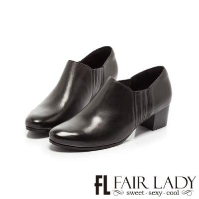 Fair Lady簡約復古側鬆緊拼接粗跟踝靴 黑
