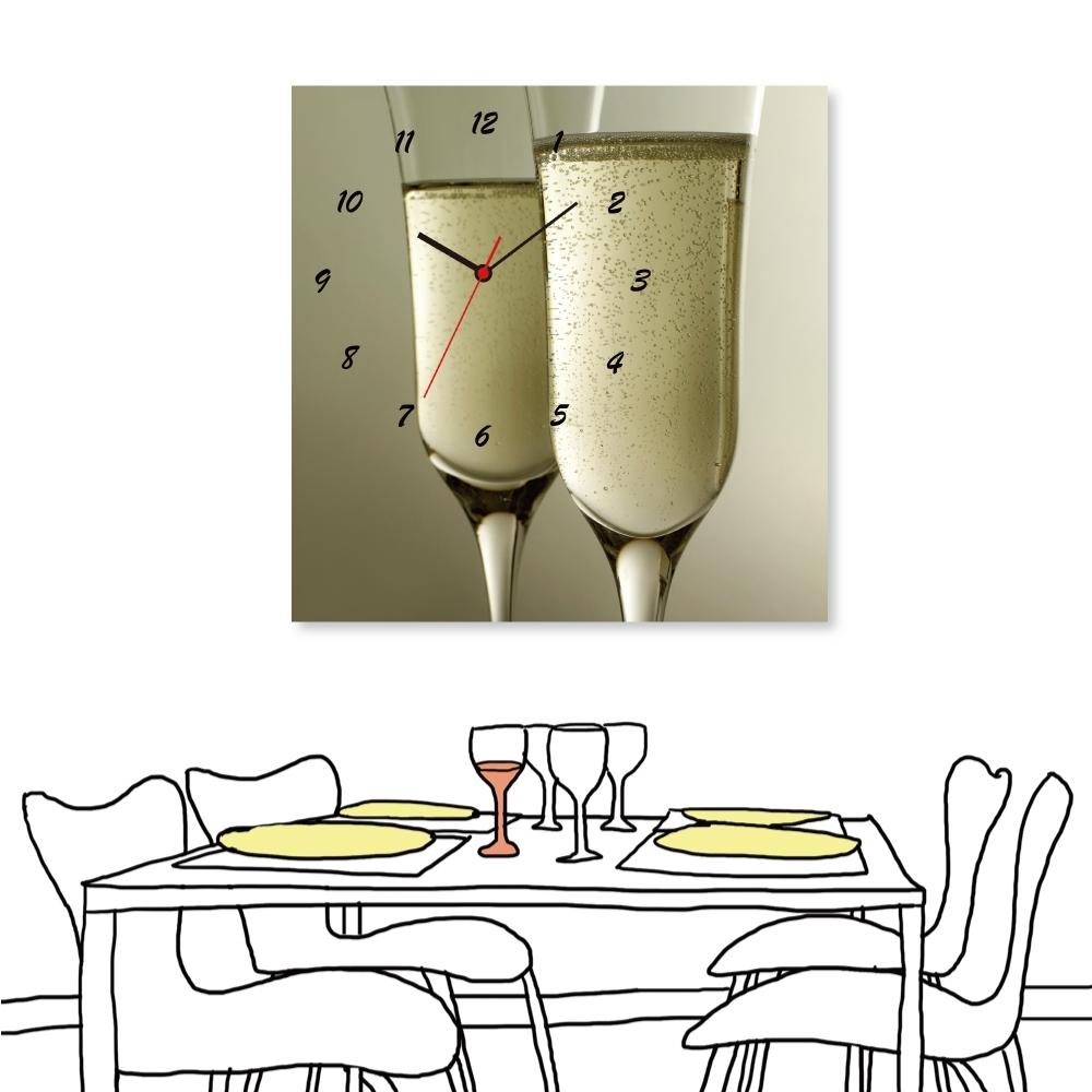 美學365 全新展示品 單聯式 香檳 時鐘掛畫 無框畫 50x50cm
