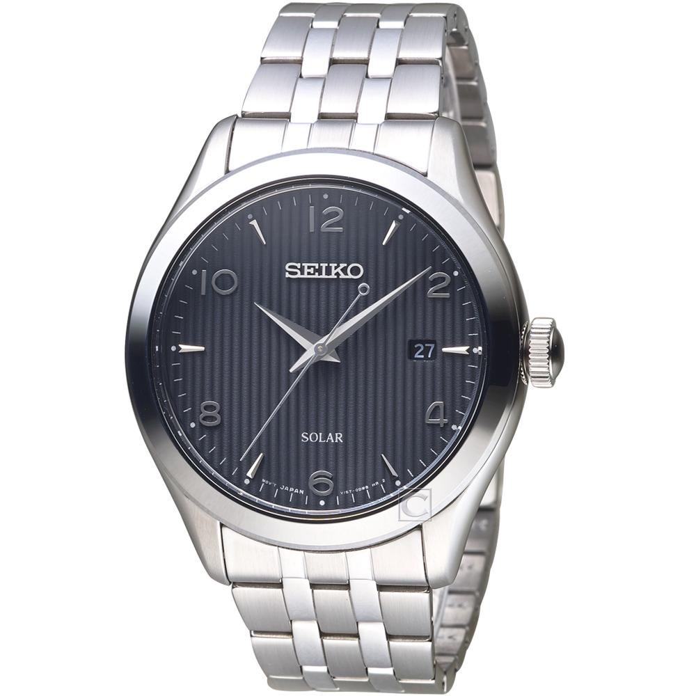 SEIKO精工 線性簡約日期太陽能手錶-V157-0CN0D SNE489P1