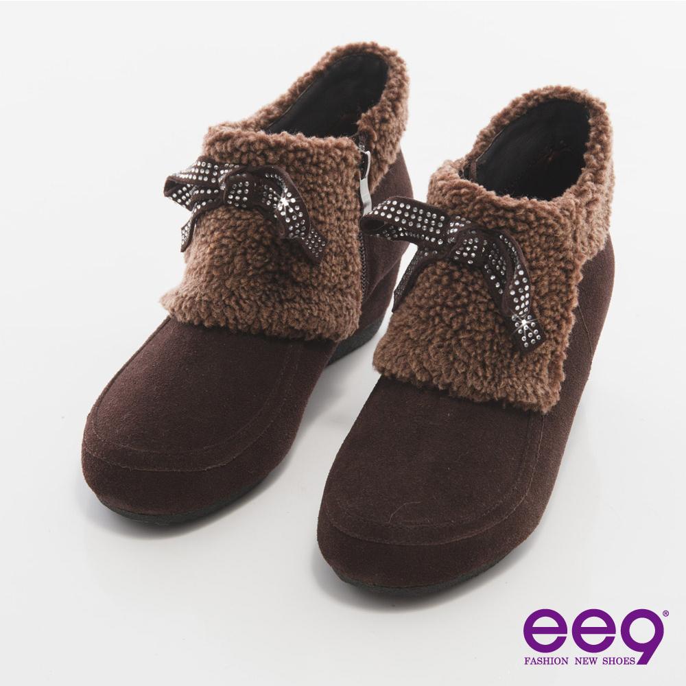 ee9 完美時尚~璀燦水鑽異材質拼接踝靴*咖色