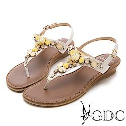GDC-真皮夏日海洋風寶石涼鞋-米杏色