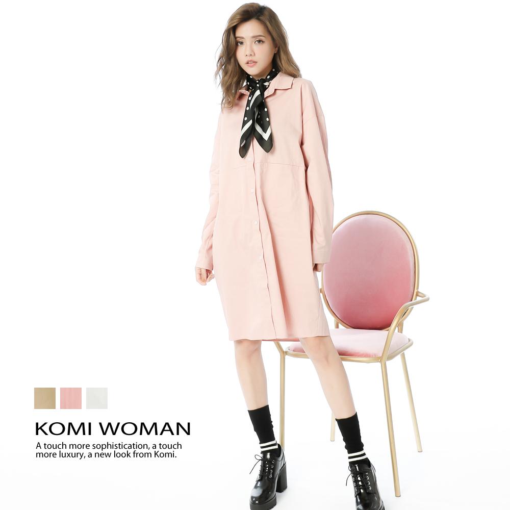 【KOMI】棉口袋襯衫式洋裝 (三色)