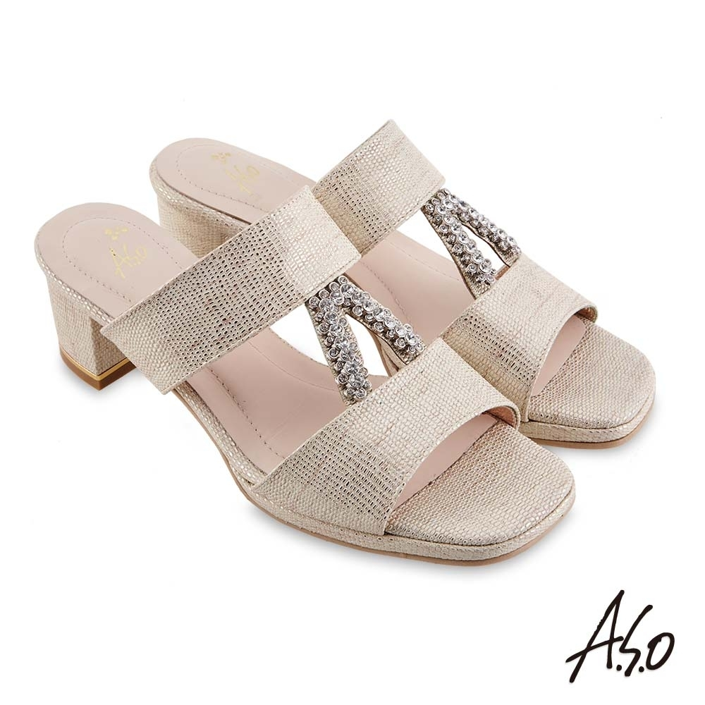 A.S.O 時尚流行 摩登時尚金屬質感粗跟涼鞋-金