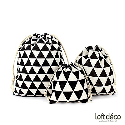 Loft Deco   Black triangle   束口袋三件套