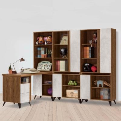 D&T 德泰傢俱 DINO清水模7.3尺組合書櫃加調整書桌-220.5x150x181cm