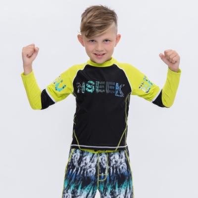 澳洲Sunseeker泳裝抗UV防曬長袖泳衣-大男童上衣/萊姆黑4181021LIM