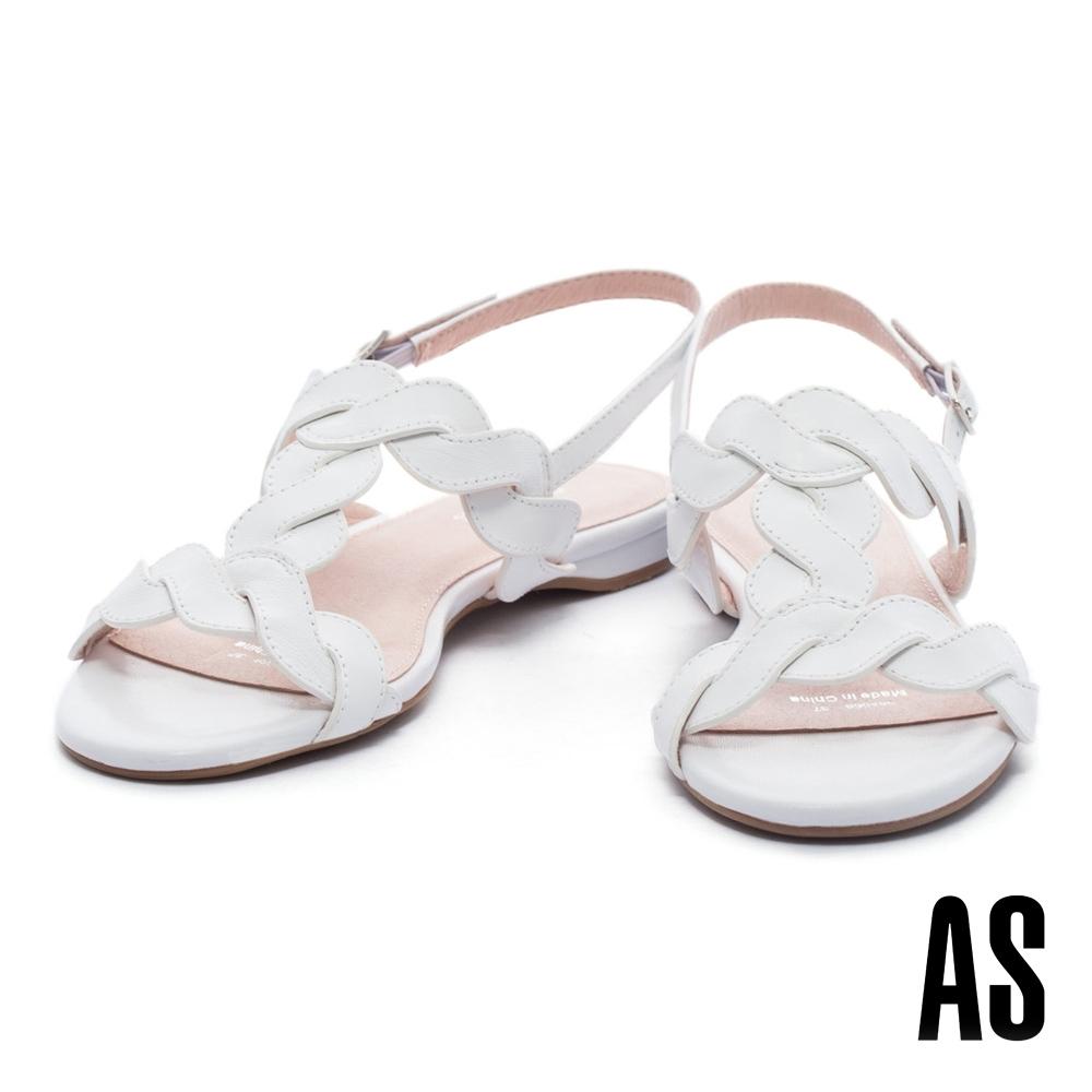 涼鞋 AS 柔美清新麻花造型工字牛皮粗低跟涼鞋-白