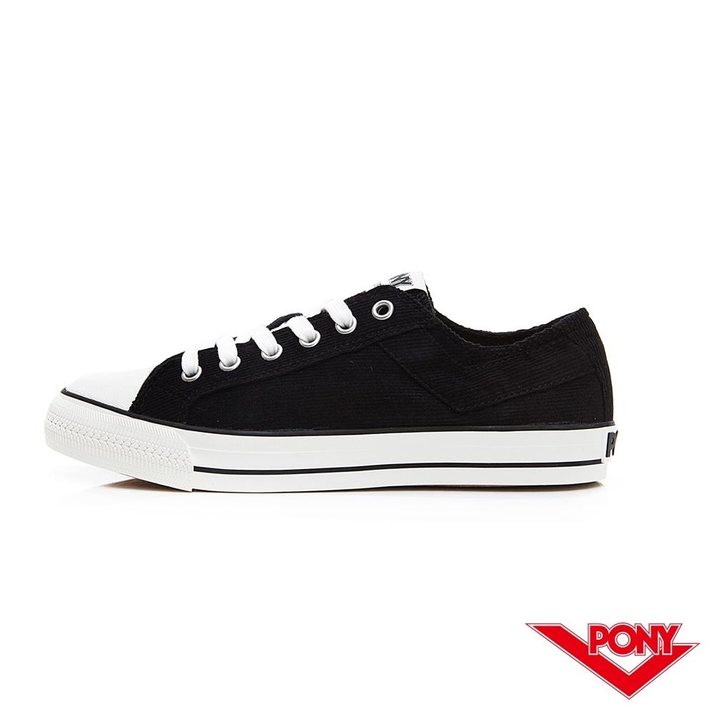【PONY】Shooter系列燈芯絨鞋面低筒百搭復古帆布鞋 男鞋 黑