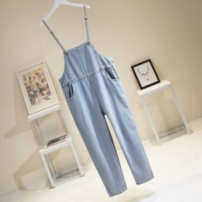 百搭氣質水洗淺藍細吊帶牛仔長褲XL-5XL-KVOLL