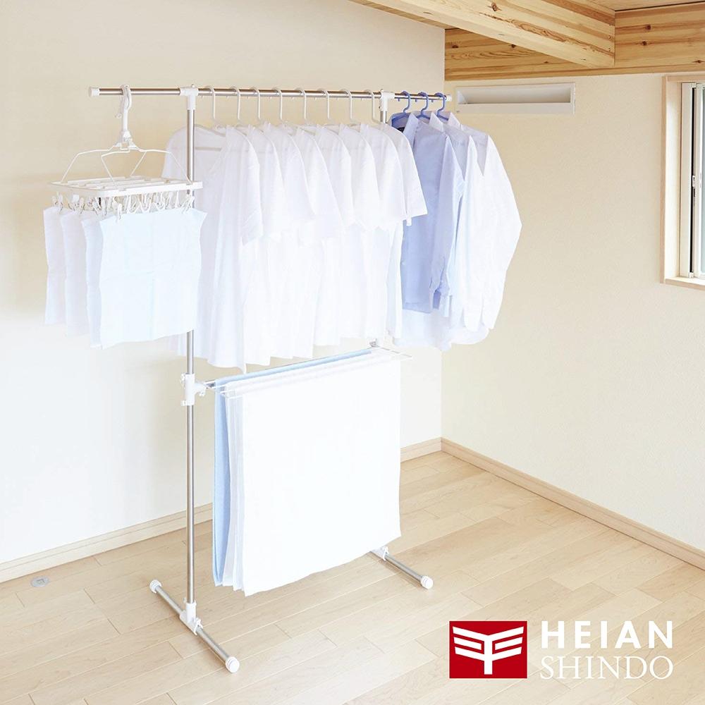 日本 【平安伸銅】T型不銹鋼伸縮桿室內曬衣/被架 MC-50