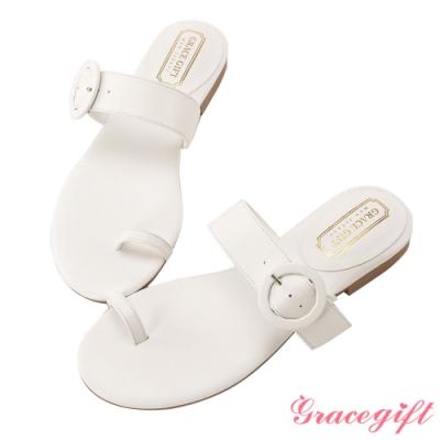 Grace gift-真皮一字套趾涼拖鞋 白