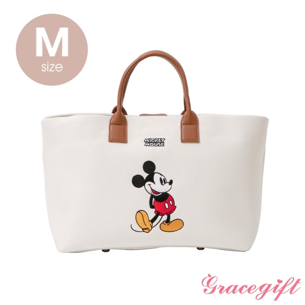 Disney collection by grace gift–唐葳設計迪士尼米奇2WAY帆布包M 白