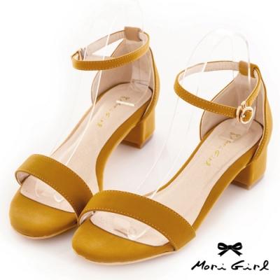 Mori girl夏日必備一字帶粗低跟涼鞋 黃