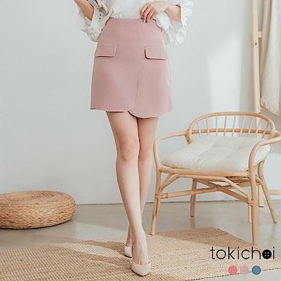 東京著衣-溫柔婉約假口袋造型多色A字短裙-S.M.L(共三色)