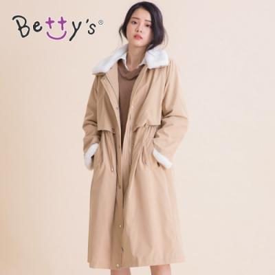 betty's貝蒂思 毛領抽繩鋪毛大衣(卡其)