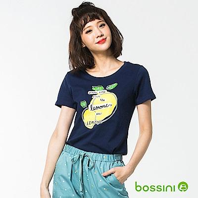 bossini女裝-印花短袖T恤51海藍