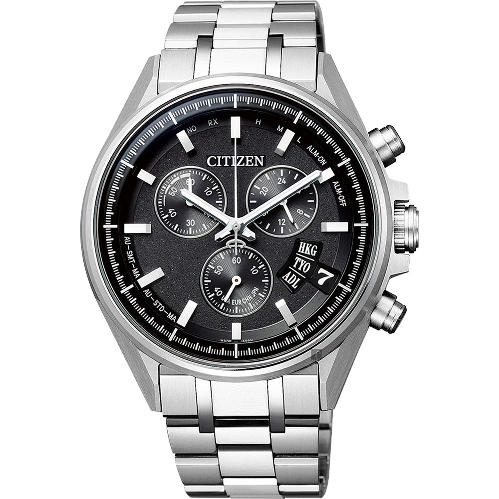 CITIZEN 星辰 限量 鈦 光動能電波萬年曆手錶-黑x銀/43mm BY0140-57E