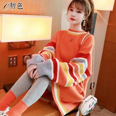 初色  日系條紋拼色針織毛衣-共2色-(F可選)