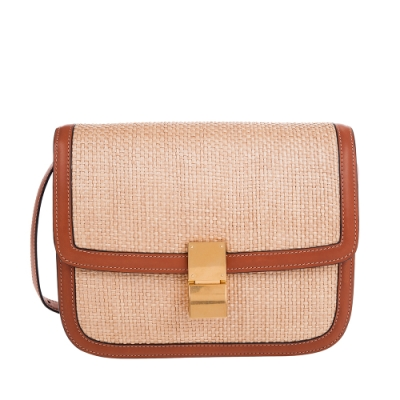 CELINE 新款FAÇON拉菲草布料編織拼小牛皮中型CLASSIC BOX肩背/斜背包 (黃褐色)