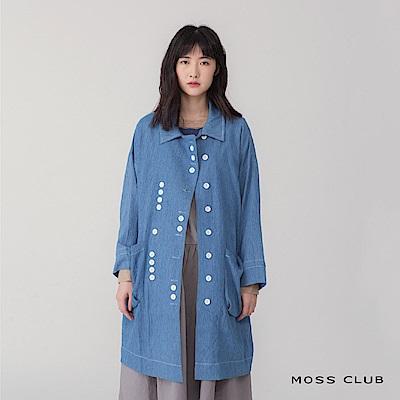 MOSS 多釦飾造型長版 襯衫