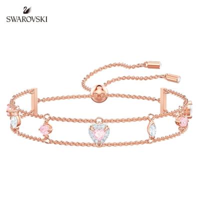 施華洛世奇 One 玫金色尚粉紅愛心雙飾手鏈