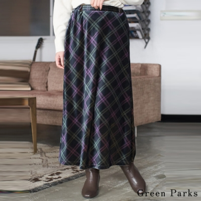 Green Parks 優雅光澤絲絨格紋長裙