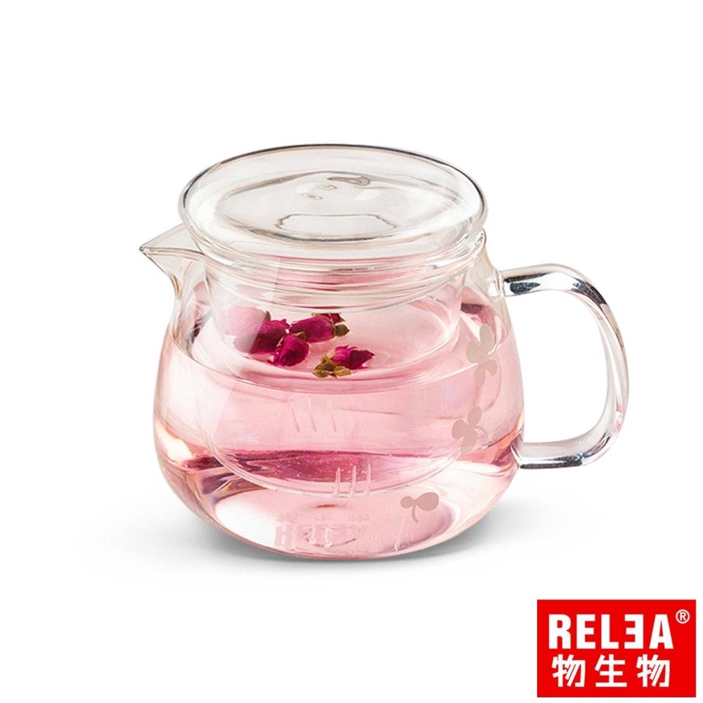 RELEA物生物 500ml小花耐熱玻璃泡茶壺(附濾茶器)