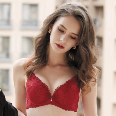 華歌爾-伊珊露絲 深V系列 B-D罩杯內衣(熱情紅) 深V低脊心-性感豐胸