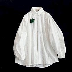 純淨自然初戀感蕾絲鏤空純棉白襯衫長袖上衣-設計所在