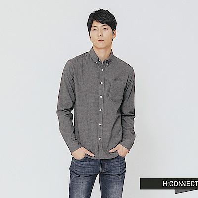 H:CONNECT 韓國品牌 男裝-格紋單口袋襯衫-深灰