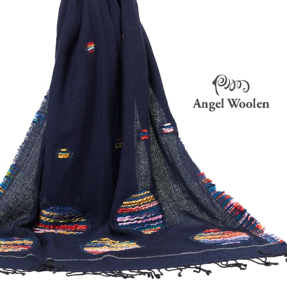 【ANGEL WOOLEN】印度手工編織披肩(藍)