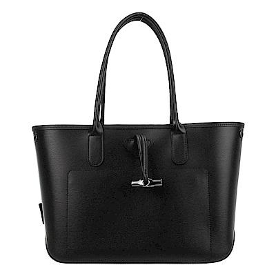 Longchamp ROSEAU系列 竹節肩背包/黑