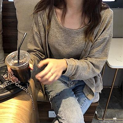 DABI 韓國風針織純色兩件套長袖上衣 @ Y!購物