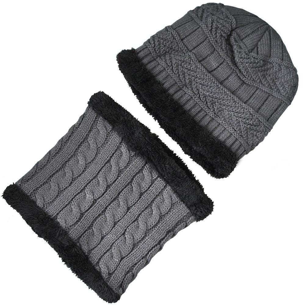 兒童二件式刷毛線帽 加絨針織帽