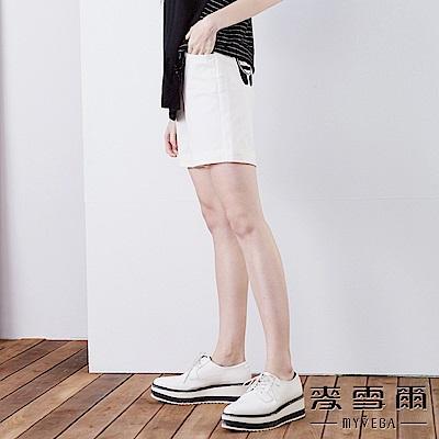 【麥雪爾】純棉條紋拼布鬆緊綁帶短褲