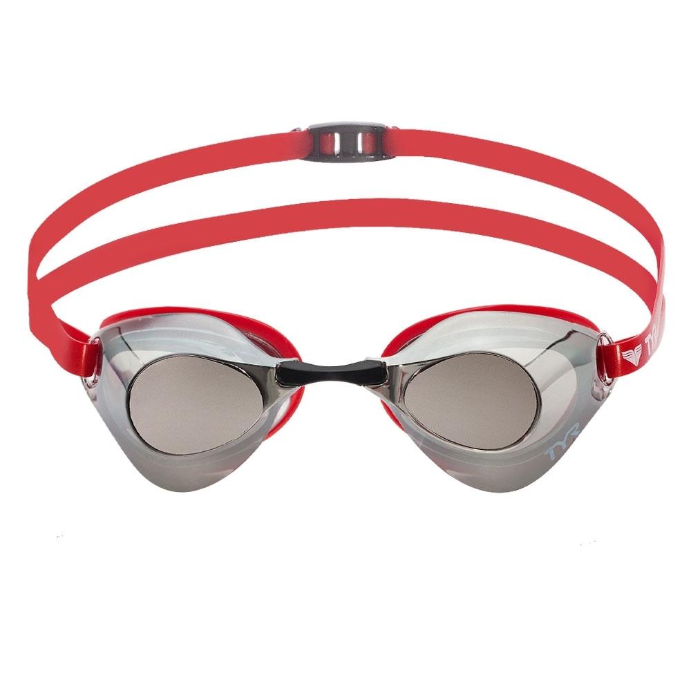 美國TYR 成人用競速電鍍泳鏡 Falcon Metallised Red