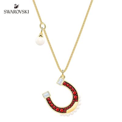 施華洛世奇 Lucky Goddess Horse 金色幸運馬蹄鐵珍珠項鏈