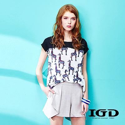 IGD英格麗 夏日悠閒風童趣動物印花拼接造型上衣