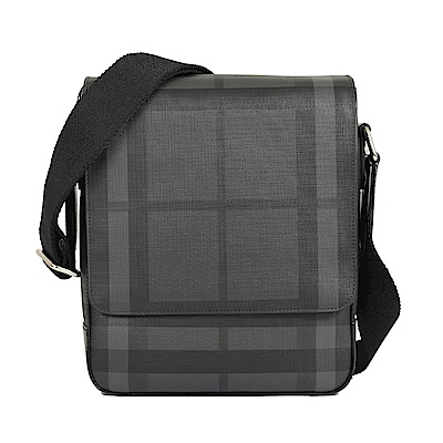 BURBERRY London經典格紋防水斜背記者包(煤灰/黑)