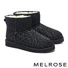 短靴 MELROSE 低調時髦豹紋絨毛厚底短靴-黑