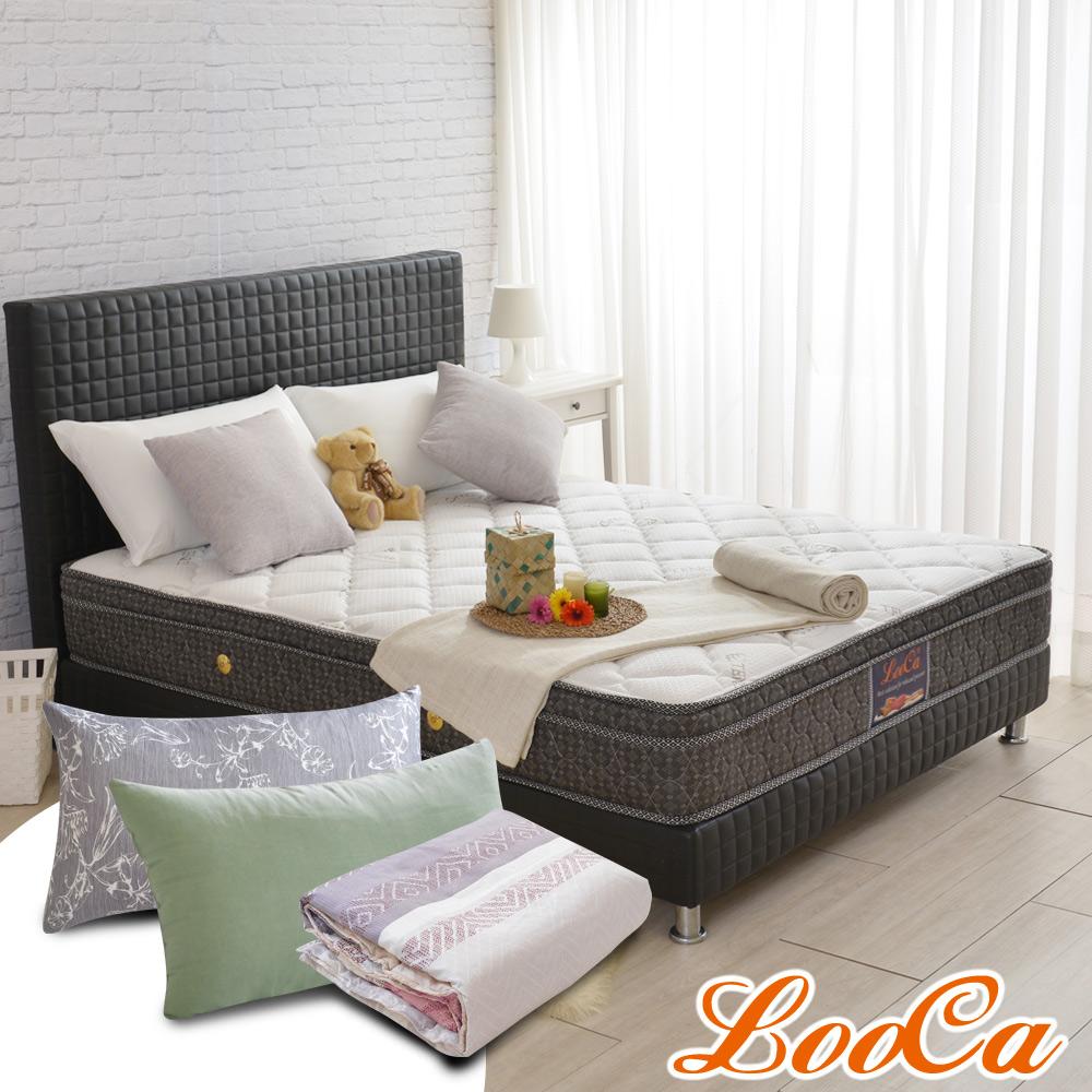 (成家組)加大6尺-LooCa安全認證防蹣+乳膠獨立筒床墊