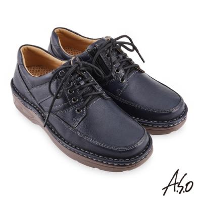 A.S.O  機能休閒 手縫氣墊綁帶商務休閒鞋-藍