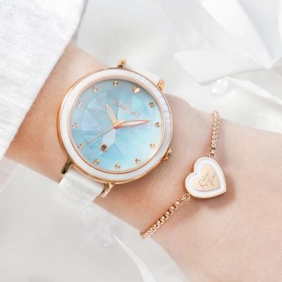 【加碼送手鍊】RELAX TIME 極光系列-半陶瓷腕錶-湖水綠 (RT-92-5)