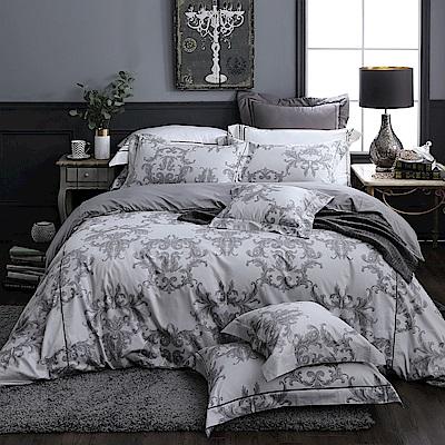 OLIVIA  奧汀 淺灰 300織精梳純棉 標準雙人床包被套四件組